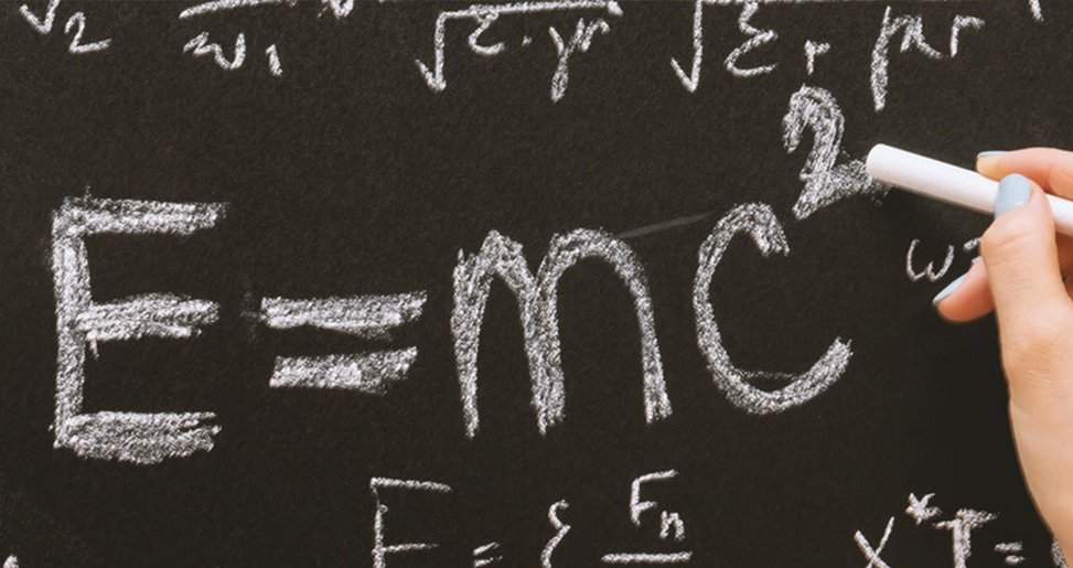 Photo of an algebraic equation on a chalk board